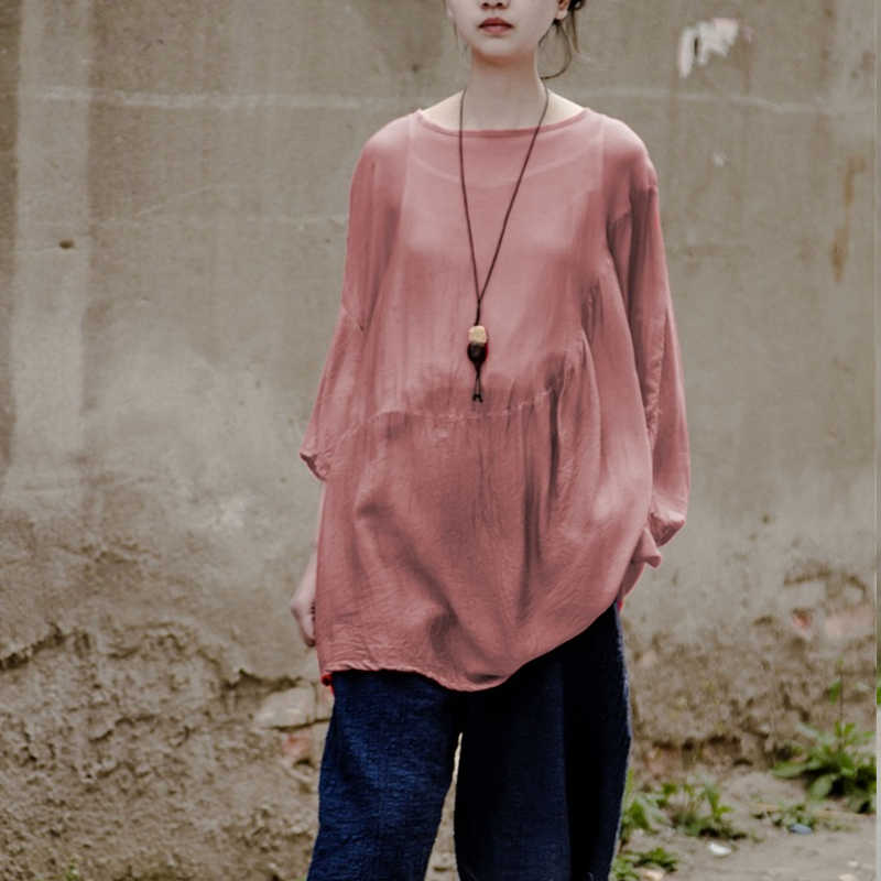 Johnature Women T-Shirts Loose 2019 Summer New Seven Sleeve Fashion Soft Casual Tops Vintage Pink High Quality Women T-Shirts