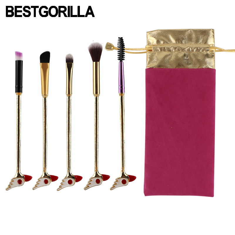 BESTGORILLA New Fashion 5pcs/set Sailor Moon Makeup brush Wands Makeup Metal handle Variety Eye Makeup brush beauty tools