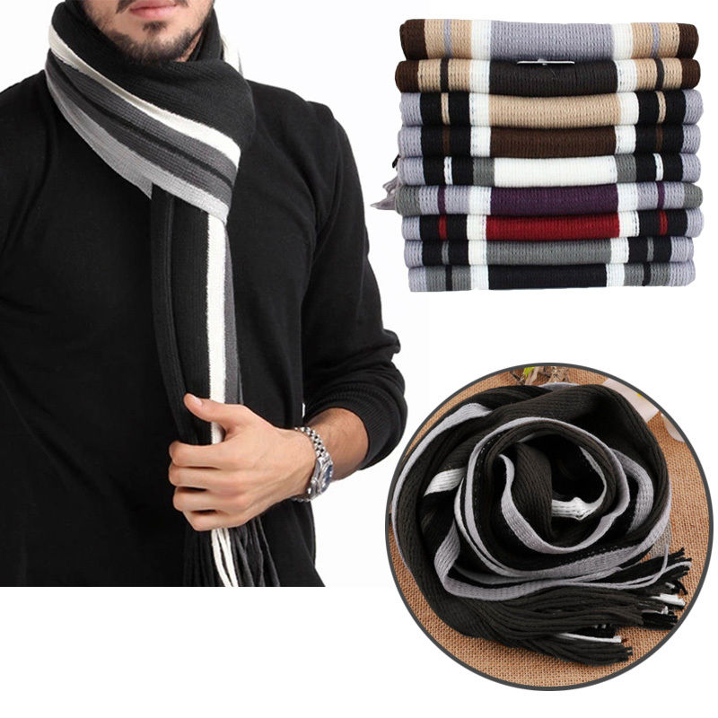 Elegant Men's winter Striped Fringed   Scarf   Long Pashmina Shawl Classical Striped Artificial Wool   Wraps   Tassels Strips   scarf