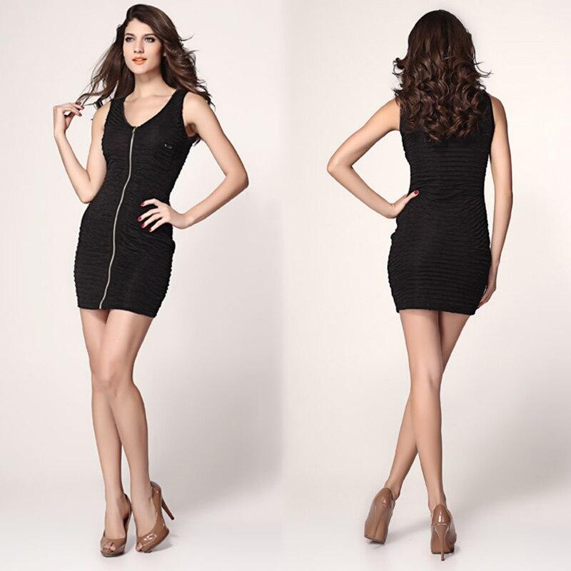 Black stretch microfiber mini dress