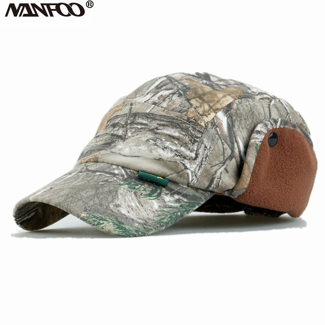 05e92b5ef16 New Outdoor Tree Camo Winter Unisex Hunting Cap Fishing Tactical Snow Camo  Peaked Cap Windproof Earflaps Hat Casquette