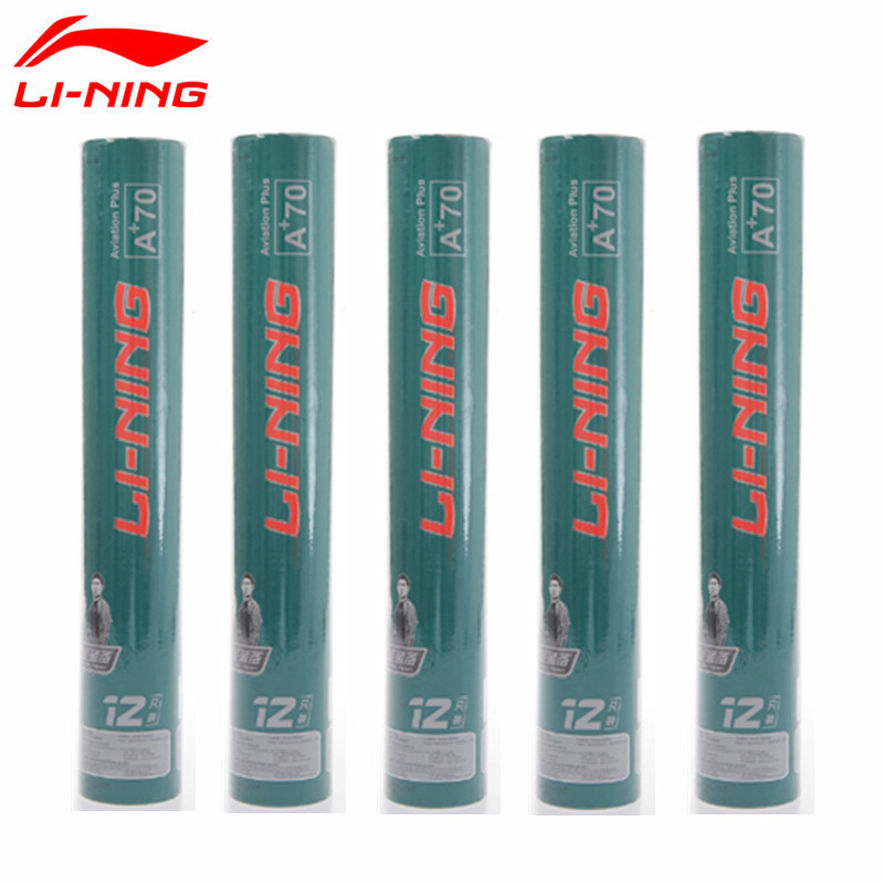 5tubes lot Lining Badminton Shuttlecock A 70 Goose Feather Durable Flying Stability Birdies Li Ning Battledore