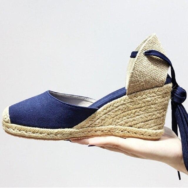 536e36ec6b3 2017 nuevos zapatos del verano de las mujeres alpargatas de esparto  sandalias de cuña zapatos de
