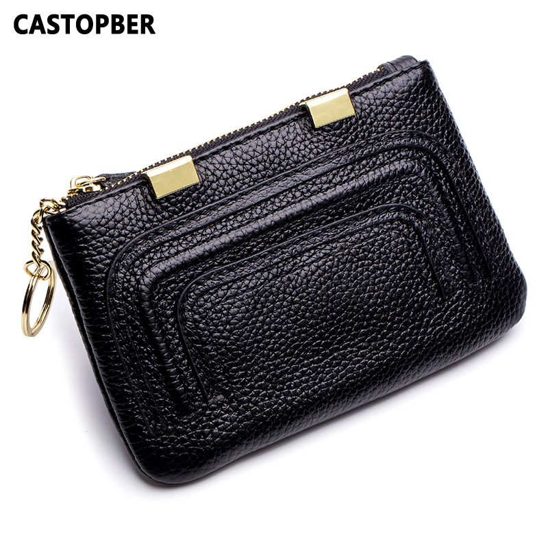 New Designer Coin Purse Key Chain Women Mini Wallet Cow Genuine Leather Small Wallet Korean Style High Quality Female Bag Famous