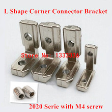 10pcs T Slot L Shape Type 90 Degree 2020 Aluminum Profile Accessories Inside Corner Connector Bracket with M4 Screw(China (Mainland))