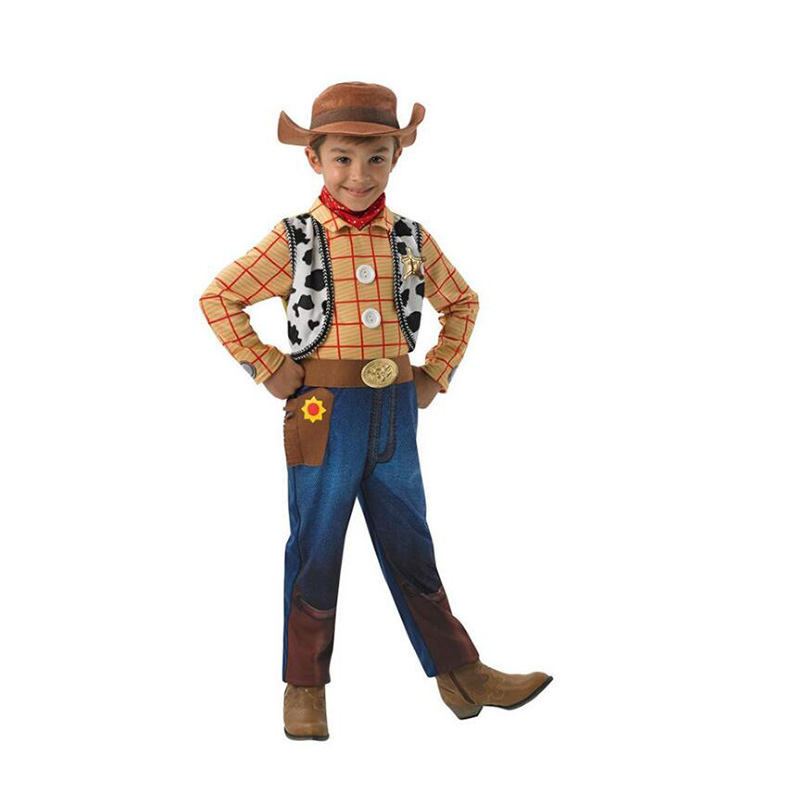New Arrival Boys Toy Story Woody Children Fancy Dress Cosplay Costume Suit (Jumpsuit +Hat+Scarf)