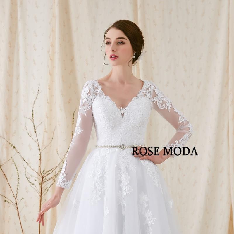Rose Moda lange mouwen trouwjurk V-hals witte kanten trouwjurken met - Trouwjurken - Foto 4