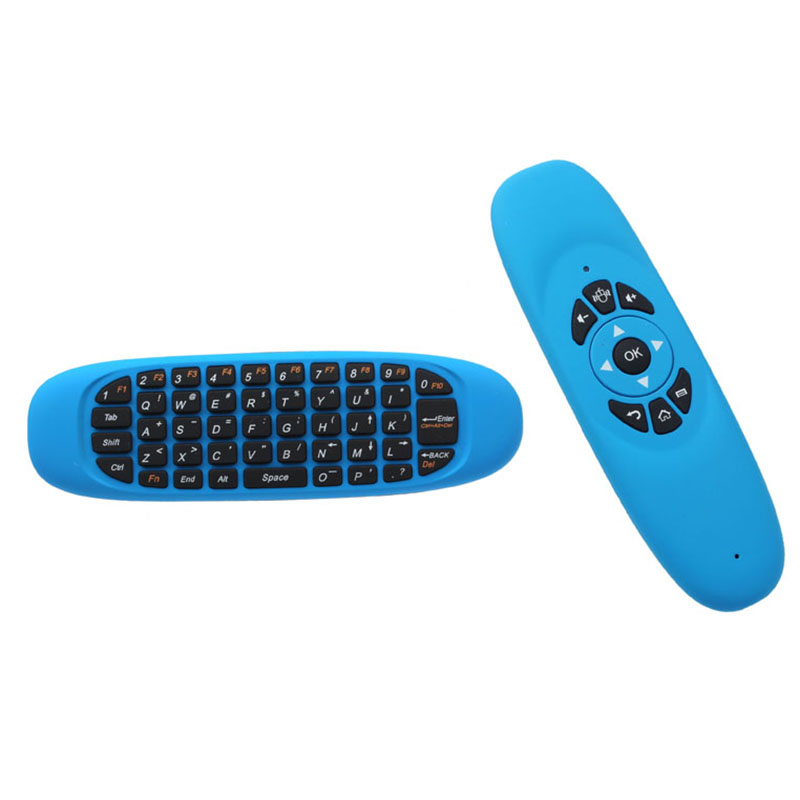 Mini Wireless Keyboard Air Mouse Remote Control For Android TV Box Color:Blue