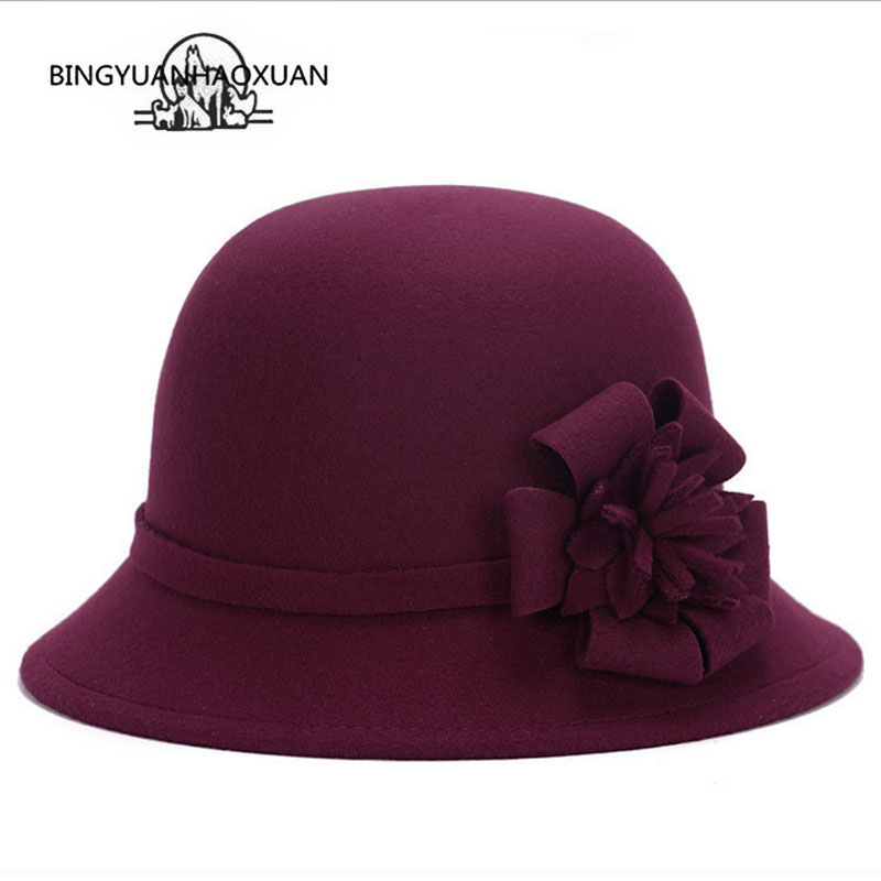 BINGYUANHAOXUAN New autumn and winter flower Cap Woman Wool Hat Imitation Retro Hat Princess Hat Fedora Cloche Solid Bucket Hats(China)