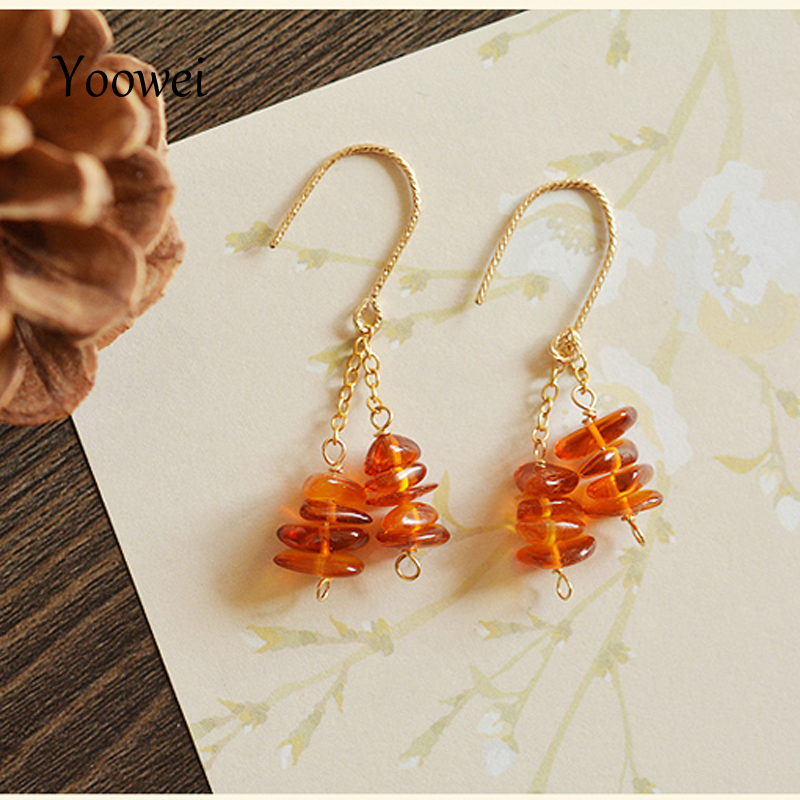 Yoowei Natural Amber Earrings Certificated Authenticity Dangling Earrings Natural Amber with 14K Gold Long Chain Cognac Earrings