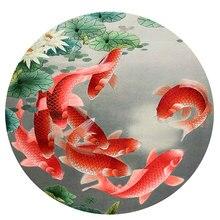DIY незавершенный шелк тутового шелкопряда Сучжоу вышивка узоры наборы ручной работы наборы для рукоделия, лотос и рыбы