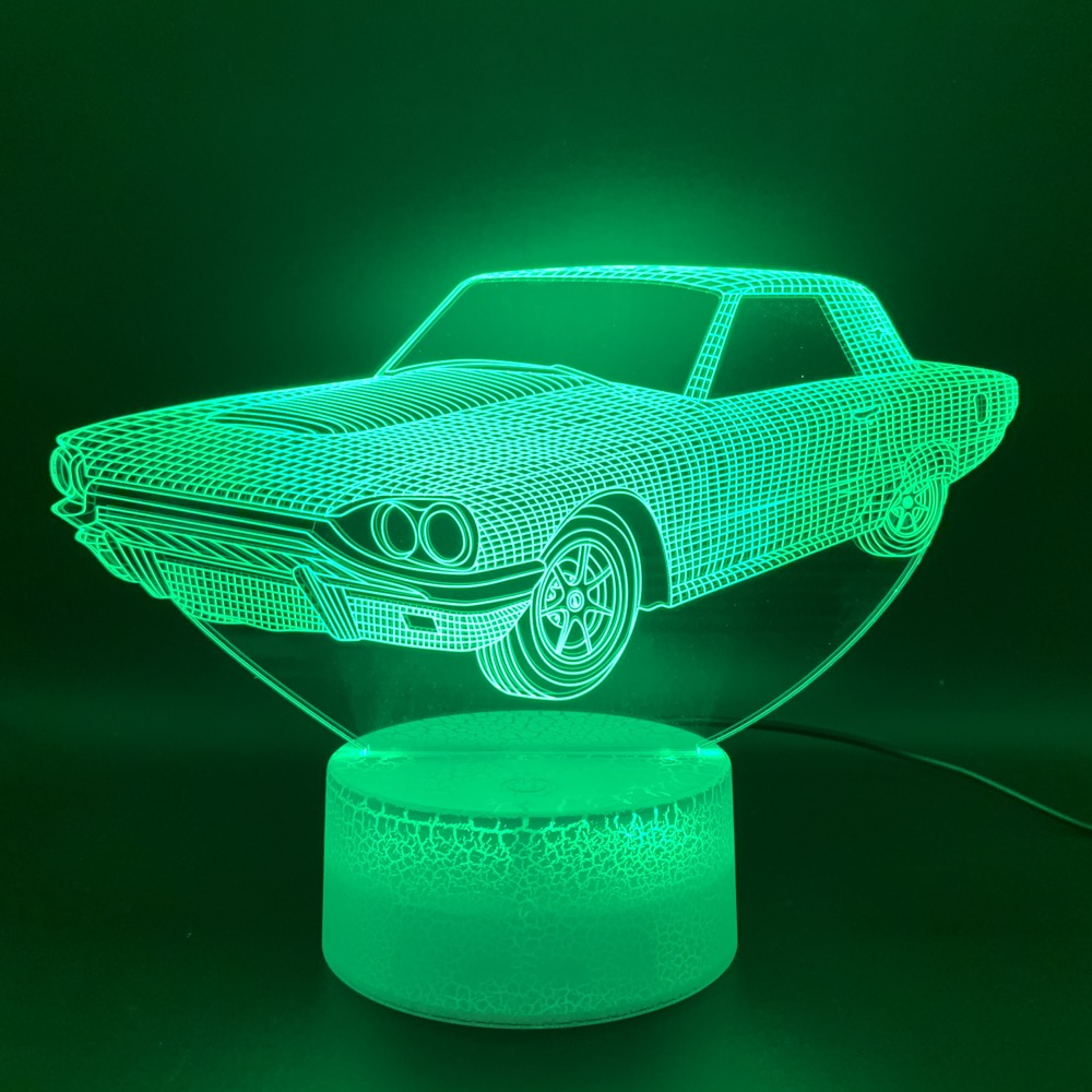 Novelty Light Vintage Car Lampara Home Deco Lamp Hologram Gift For Kid Child Retro Car Cool 3D Illusion Led Night Light Lamp