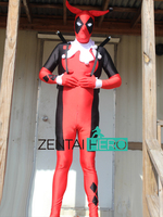 ZentaiHero Custom Made Fancy Dress Deadpool Harley Quinn Superhero Costume Spandex Zentai Bodysuit Halloween Catsuits Jumpsuit