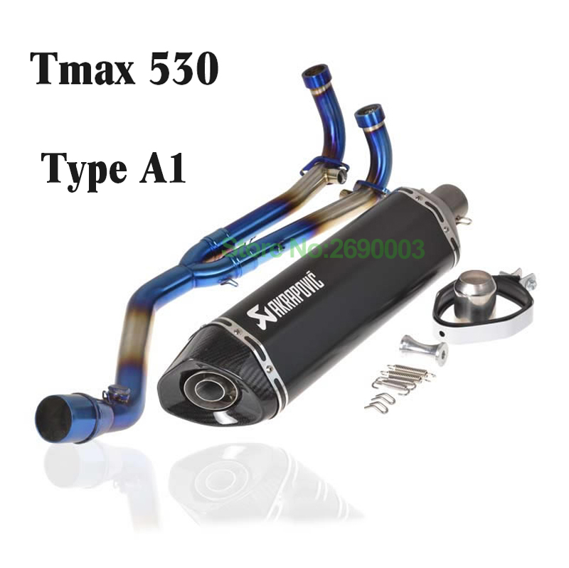 51mm Motorcycle Akrapovic Exhaust Muffler Universal Motorbike Muffler Exhaust Escape Damper with Carbon Fiber Tip for Tmax530