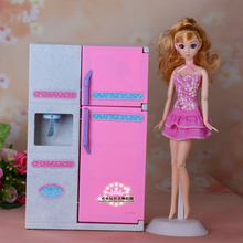 new fashion Doll simulation furniture accessories with lights refrigerator suite for barbie doll 1 6 girls