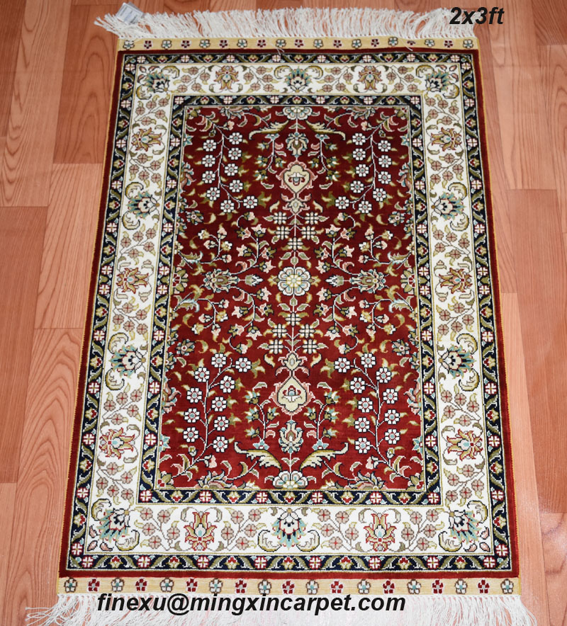 2ftx3ft 61cmx91cm 230lines On Price Chinese Handknotted 100 Pure Silk Carpet
