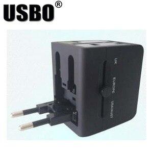 """Image 5 - שחור לבן הגלובלי אוניברסלי תקע מתאם כפול USB 5 v 2.1A יציאת נסיעות AC חשמל מתאם עם AU ארה""""ב בריטניה האיחוד האירופי plug socket ממיר"""