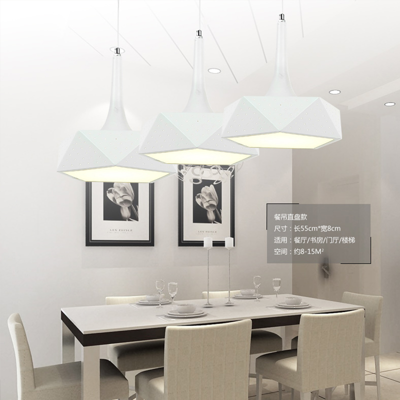 Moderne led hanglampen voor keuken bar woonkamer, creatieve led hanglamp iron + PVC schaduw ronde/vierkante/veelvlak - 3