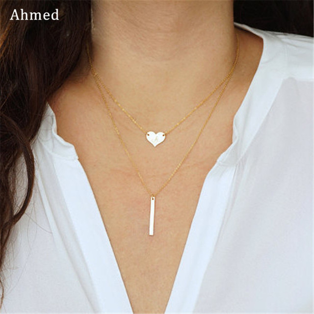 1432ca936 Ahmed Simple Love Heart & Straight Bar Pendant Double Necklace For Women  New Collar Bijoux Fashion Jewelry Collier Femme