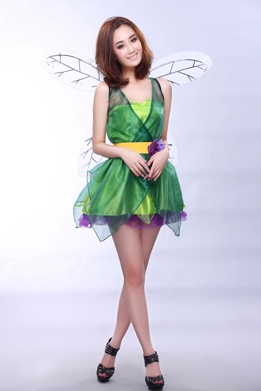 Tinker Bell Green Dress Tinkerbell Costume Cosplay Costumes for Halloween Christmas New Year Party for Women