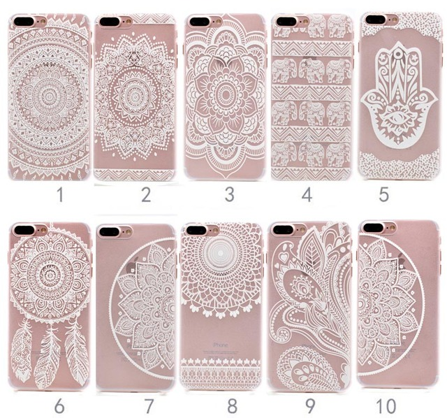low cost 5a865 9f6f2 US $1.21 39% OFF|Fashion Flower Mandala White henna Design Phone Case Cover  For iPhone 5 5S SE 6 6s Plus 7 XR XS Max 8 8Plus X 10-in Half-wrapped Case  ...