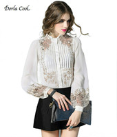 Dorla Cool New Luxury Silk Women's Shirts Sexy Lace Retro Embroidery Blouses Lantern Sleeve White Black High Quality Brand Tops