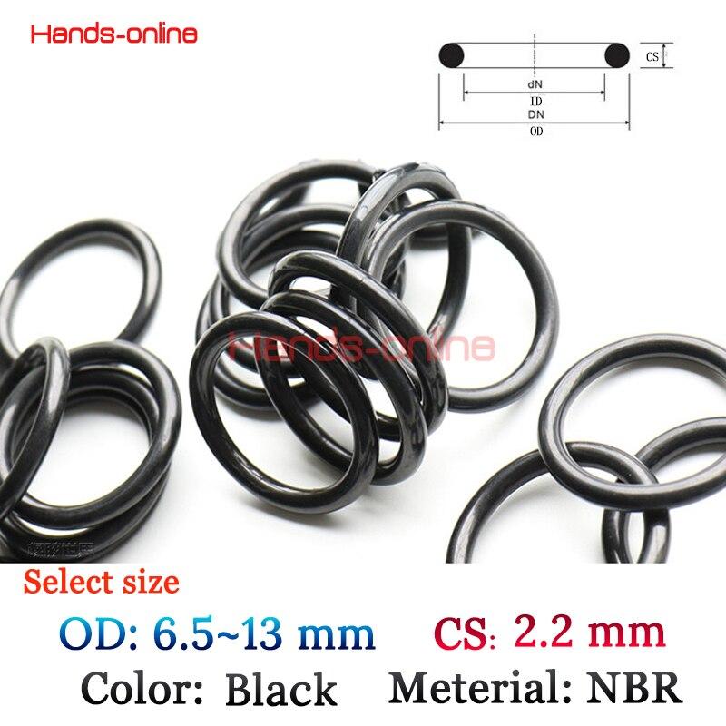 10Pcs Select OD 6.5 6.8 7 8 9 9.6 10 11 12 13mm x CS 2.2mm Rubber Metric O-Ring Section 2.2mm Gasket Grommets Black 10pcs nbr rubber metric o ring section 1 24mm x select 3 86 12 9 mm o ring seal sealing gasket mechanical seal