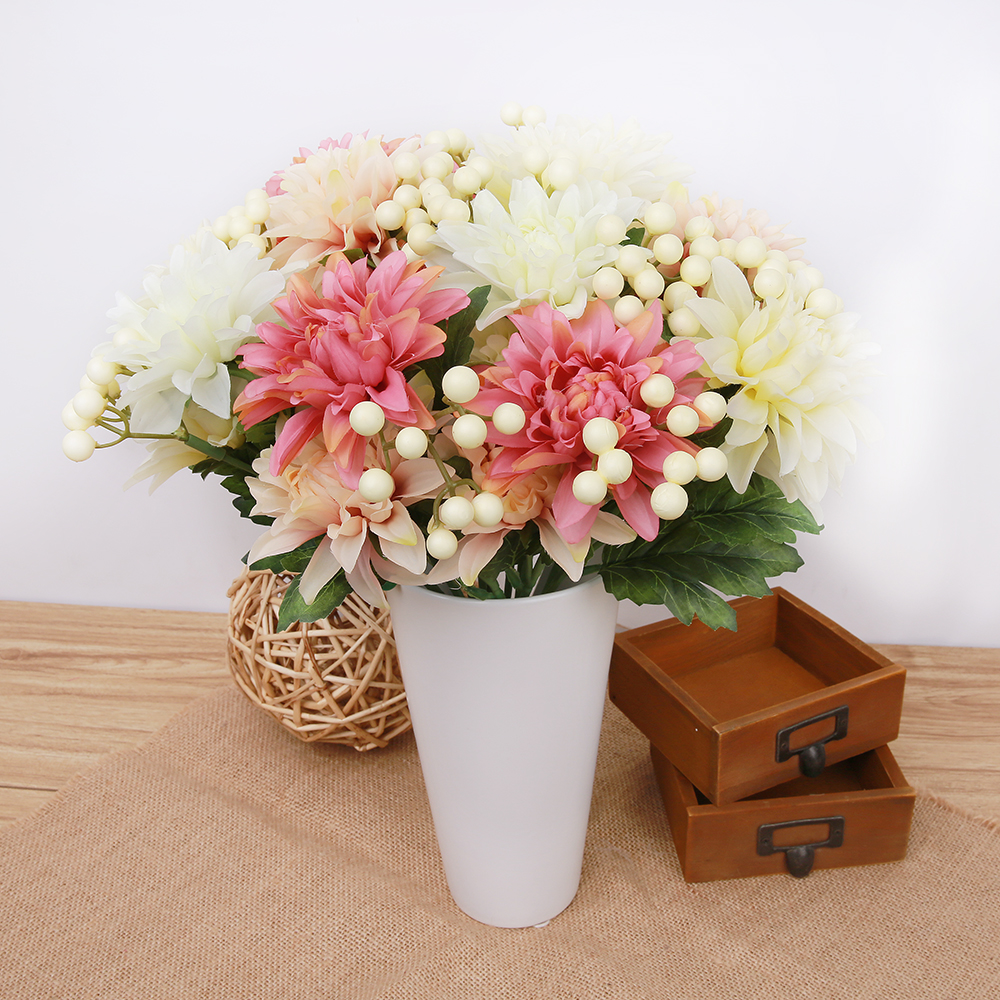 1 Bouquet 5 Head Artificial Flowers Fake Flowers Dahlia Flower