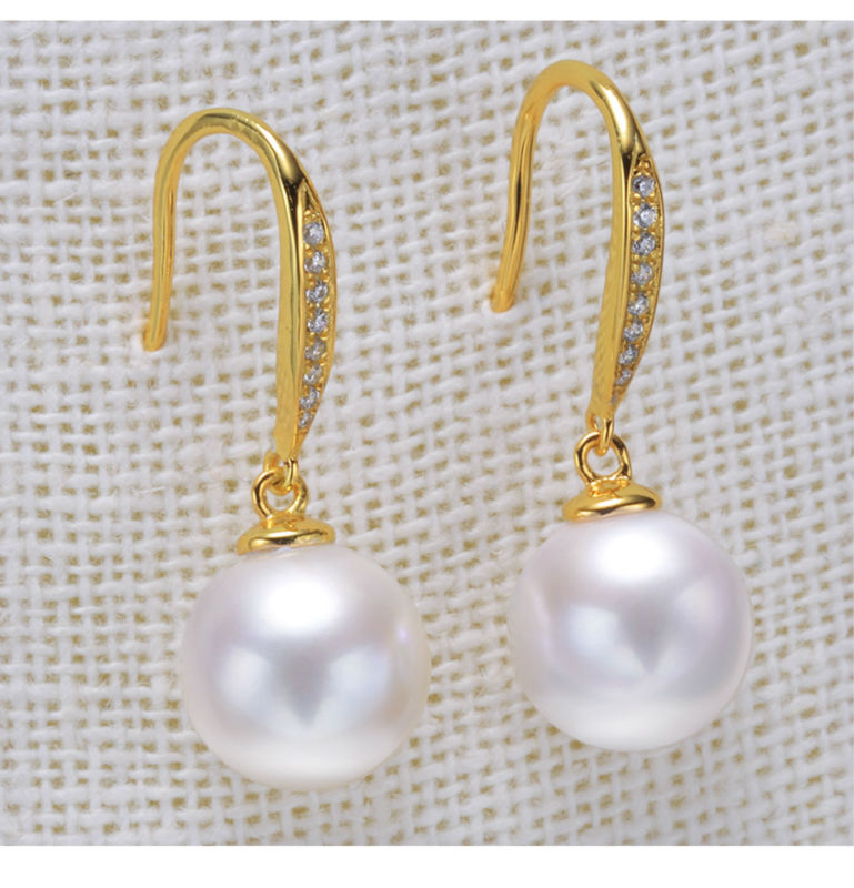 gold freshwater pearl earrings jewelry 77