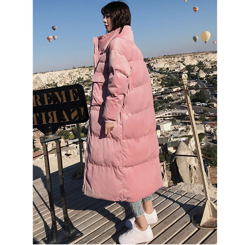 Winter Jacket Women   Parka   Coat Velvet Warm Thicken BF Long Jacket Outerwear Oversized Coat Streetwear Female Jacket   Parkas   Q993