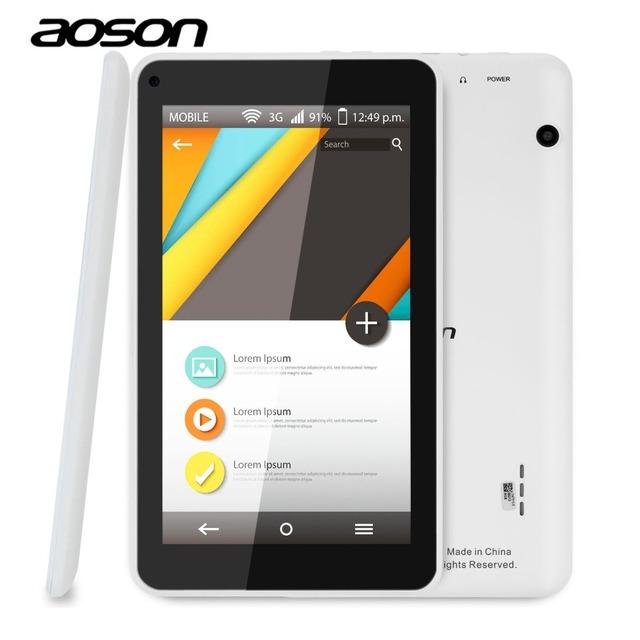 Alta qualidade aoson m751s-bs 7 polegada hd tablet pc quad núcleo Allwinner A33 512 M/8G Android 4.4 Câmeras Dual wifi bluebooth crianças