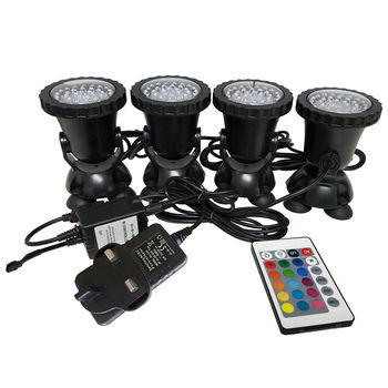 4 Lights/Set 6W  36RGB LED Aquarium Underwater Spot Light Garden Fountain Pond Lamp for Aquarium Tank Pool UK Plug