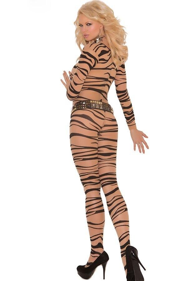 Fashion 17 New Sexy Nightgown Autumn Women Stockings Sexy Fresh Zebra Print Sleepwear Body Stockings LC79590 2