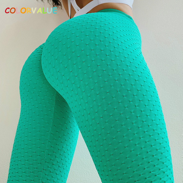 $ US $18.60 Colorvalue Scrunch High Waisted Athletic Sport Fitness Leggings Women Quick Dry Hip Up Gym Workout Tights Yoga Pants Activewear