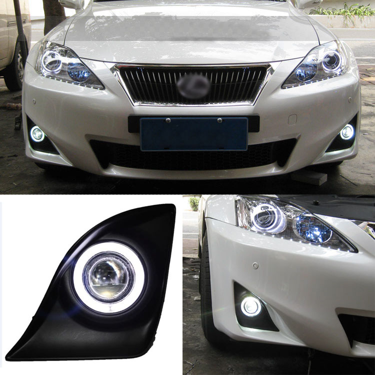 Ownsun Superb 55W Halogen Bulbs COB Fog Lights  Source Angel Eye Bumper Cover For Lexus IS250/IS350 2011-2012 golden eye drl led fog lights lamps for lexus lx570 rx350 awd rx450h awd es300h gs350 gs450h is f is250 is350 2008 2013