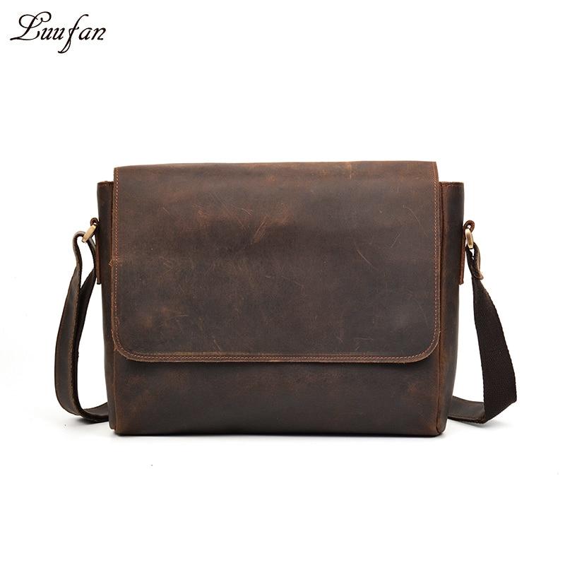 0331f0e2a638 Men s Vintage crazy horse leather messenger bag A4 Genuine leather shoulder  bag iPad Thick Cow leather