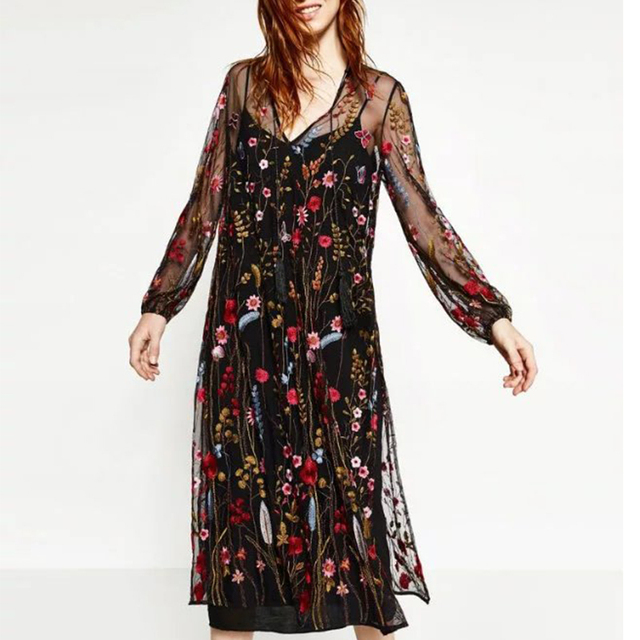 2017 Sexy robe Floral Embroidery Dress Brand Mesh Lace Perspective Long Maxi Dresses Women Party vestido de festa BBWM16161