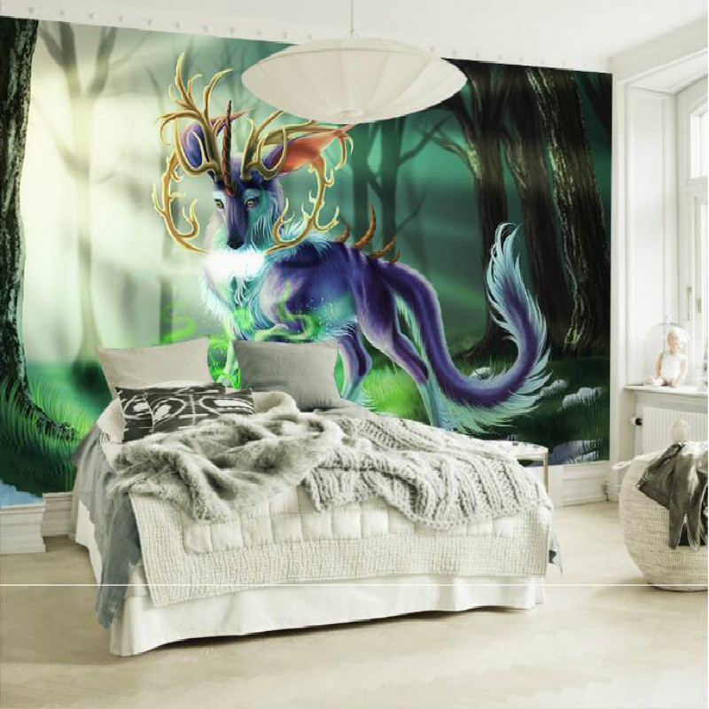 Green sunshine forest elk Rui animal large murals wallpaper living room bedroom wallpaper painting TV background wall wallpaper blue earth cosmic sky zenith living room ceiling murals 3d wallpaper the living room bedroom study paper 3d wallpaper