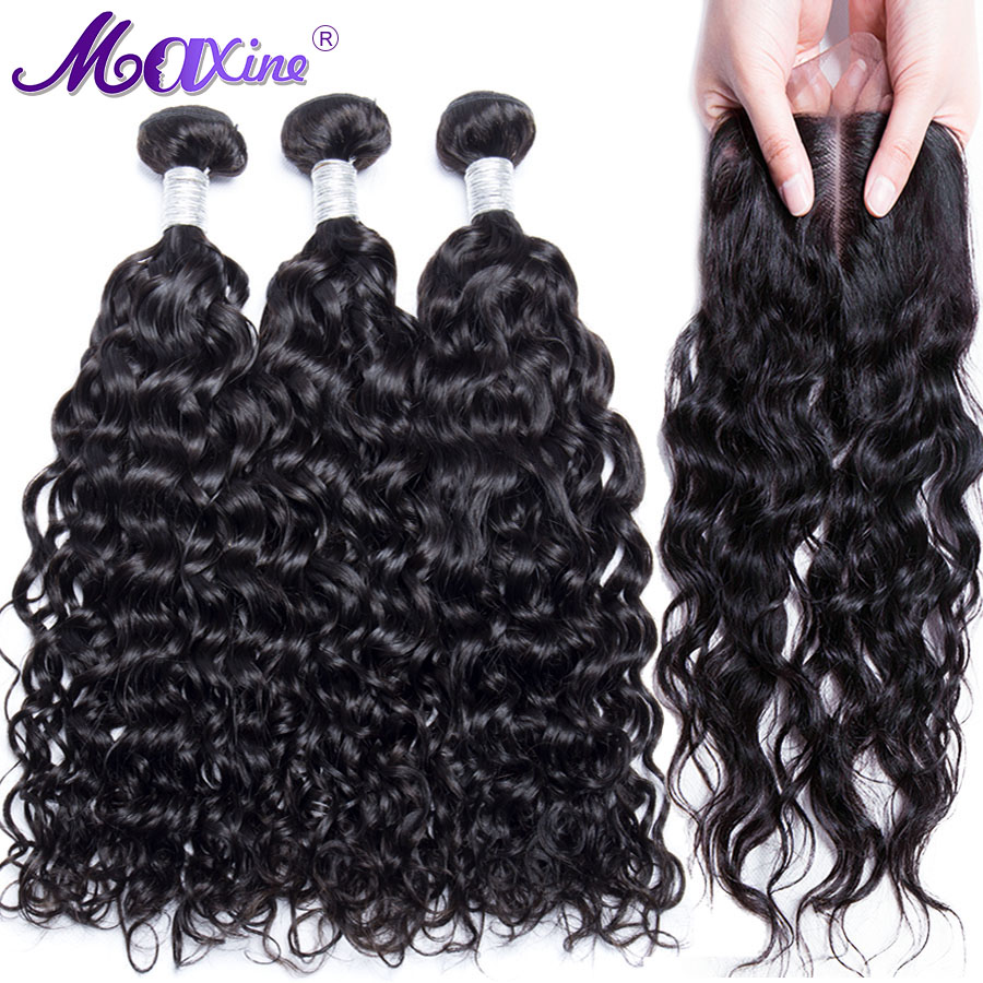 Maxine Hair Brazilian Water Wave 3 Bundles With Closure Human Hair Weave Bundles With Middle Part