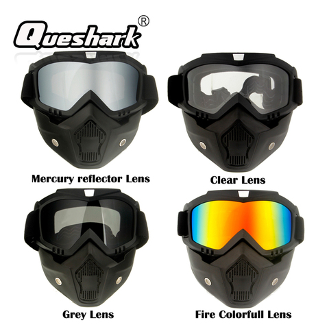 Queshark Ski Snowboard Mask Winter Ski Snowmobile Goggles Windproof Skiing Glasses Cycling Sunglasses With Mouth Filter Pakistan