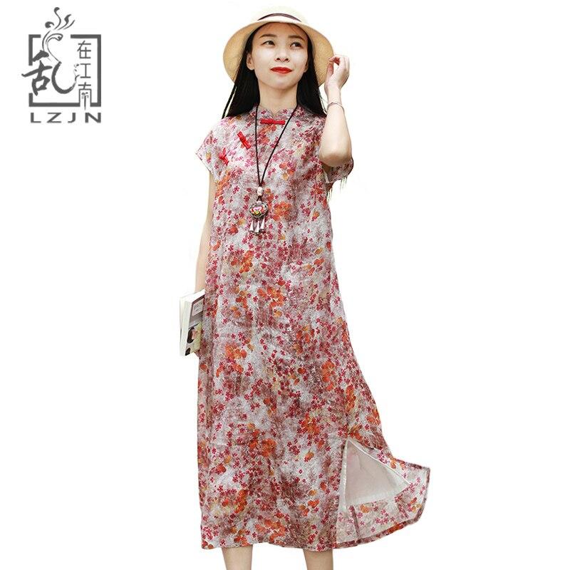 LZJN Small Floral Print Cheongsam 2019 Trending Long Tunic Beach Dress Short Sleeve Traditional Chinese Dress