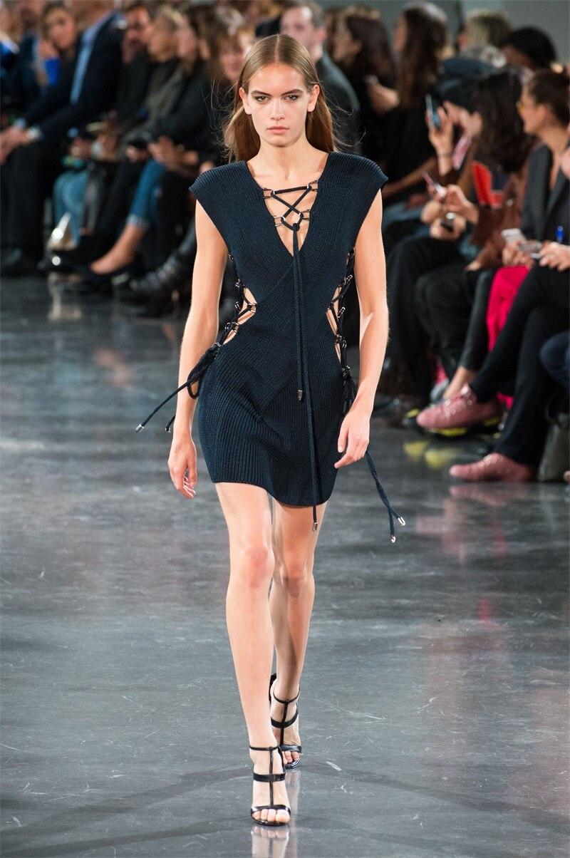 Piste Cou Dentelle Robe Slim Mode D'été V Sexy Hl Taille Évider Noir Bandage Mini Robes Nouvelle Croisillon 2018 Femmes Up K1c5ulF3TJ