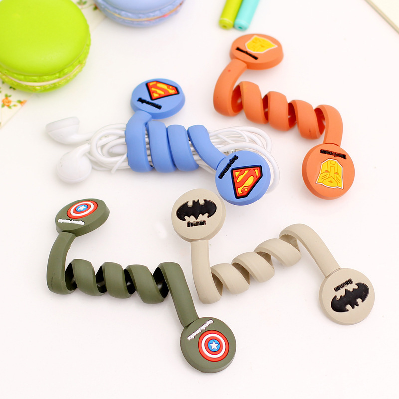 New 100pcs/lot Superman, Batman Hero Model Headphone Earphone Cable Wire Organizer Cord Holder USB Charger Cable Winder Tidy