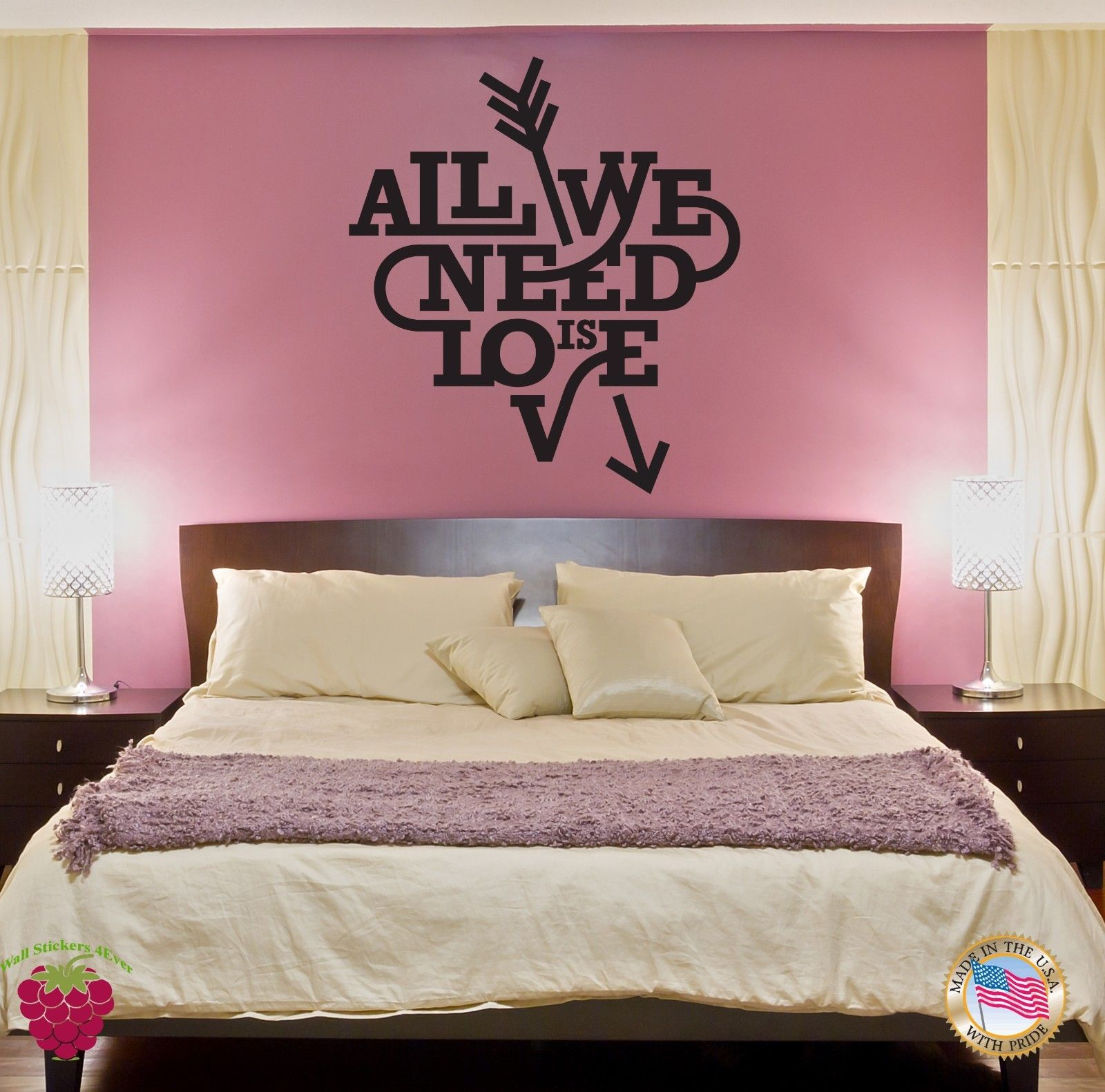 Attractive NEW Wall Sticker Quote Words Inspire Message All We Need Is Love Free  Shipping(China