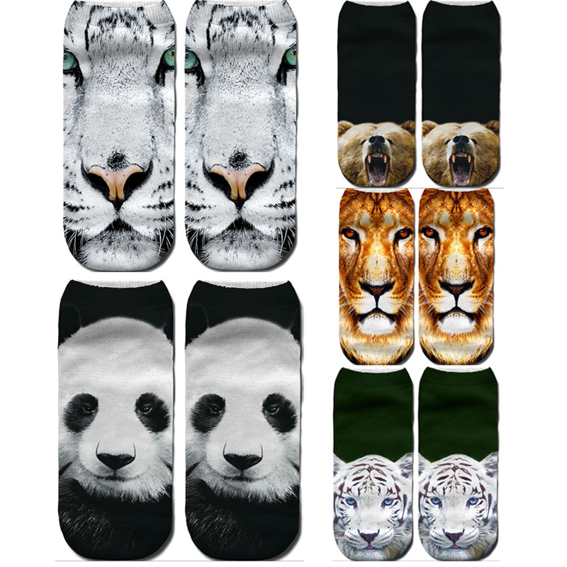 Dreamlikelin 3D Print Beast Lion Tiger Panda Bear Woman Socks Casual Women's Sox Anklets
