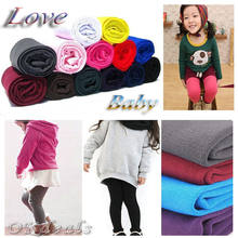 1 Pair Winter Warm Children Baby Girl Boy Kids Toddler Little Girl Clothes Pure Color Plus Velvet Leggings Pants 2-8Y Z(China)