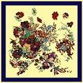 Горячие Продажи Шелковый Шарф Цветок Цветочный Печатных Женщины Моды Марка Высокое Качество Новые Шелковые Шарфы 100*100 см платок Хиджаб