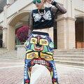 Mulheres do Hip Hop Largas Calças Pés Pequenos Calças Harem Dança de Rua Queda Rosto Venda Quente