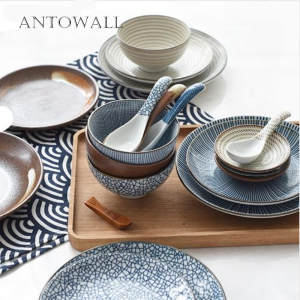 ANTOWALL Tableware-Set Spoon Dessert-Plate Porcelain Soup-Bowl Dish-Fruit Ceramic Japanese