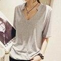 Sólidos t Shirt verão mulheres Top manga curta V Neck camiseta Casual solto estilo Plus Size preto / branco / cinza Tops camiseta Femme A6